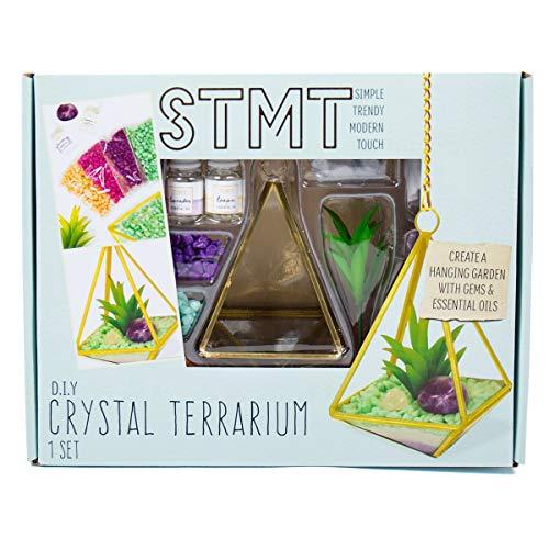 STMT DIY Crystal Terrarium by Horizon Group USA, Make Your Own Hanging Garden. 1 Glass Terrarium, 2 Gemstones, 1 Faux Plant, Colored Sand, Colored Rocks & Essential Oils Included (Large Terrarium)