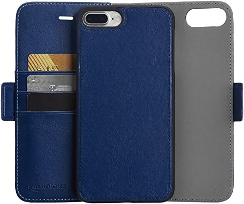 AmazonBasics iPhone 8 Plus / 7 Plus PU Leather Wallet Detachable Case, Navy