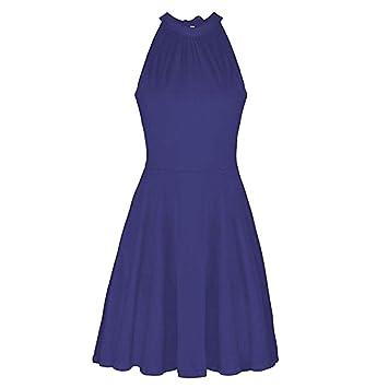 Vestido elegante para mujer – Saihui soporte cuello hombro liso color sin mangas algodón casual vestidos