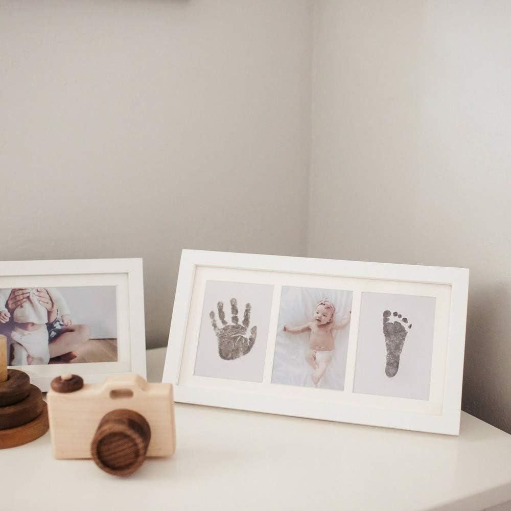 Set de Marco de Fotos y Huellas de Beb/é en Tinta Marco de madera y cristal acr/ílico Ideal regalos para bebes No t/óxico Recuerdo memorable Ideal decoraci/ón o regalo de baby shower