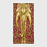 One Side Printing Hotel SPA Beach Pool Bath Hand Towel,Elephants Decor Elephant Carved Gold Paint on Door Thai Temple Spirituality Statue Classic,for Kids Teens and Adults