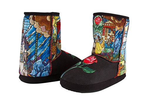 Disney Beauty And The Beast Adult Bootie House Slippers with Classic Fairy Tale Image