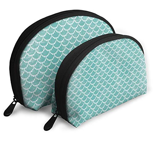 Makeup Bag Light Green Fish Scale Pattern Portable Shell Cosmetic Bags For Girls Halloween Gift 2 Piece]()