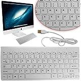 Mini Slim 78 Key USB Wired Compact Thin Keyboard for Desktop Laptop Mac PC WHITE By MyCamBay