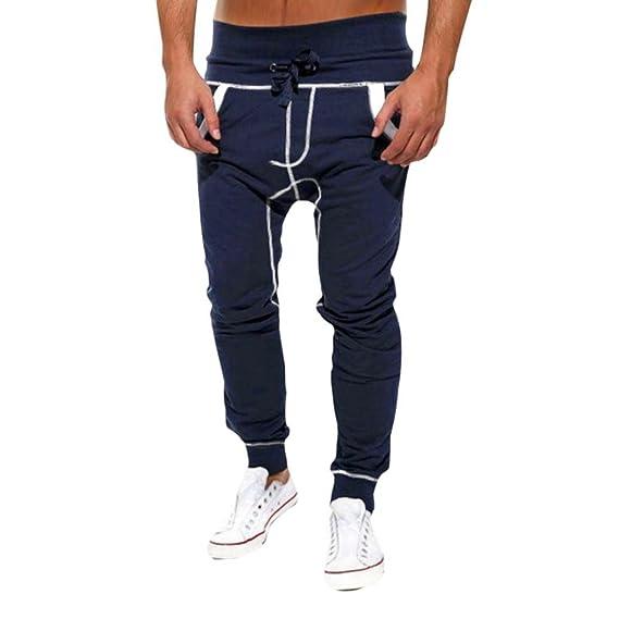 b6bea038be Men Pants Daoroka Men's Casual Loose Pocket Drawstrintg Comfy Elastic Waist  Baggy Jogger Slacks Harem Sweatpants Trouser