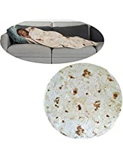 Burrito Blanket, [Upgraded Flannel] Burrito Wrap Throw Blanket - Mexico Extra Large Pizza Novelty Human Tortilla Blanket Round Shape for Adult & Kids