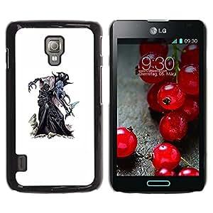 Caucho caso de Shell duro de la cubierta de accesorios de protección BY RAYDREAMMM - LG Optimus L7 II P710 / L7X P714 - Witch Halloween White