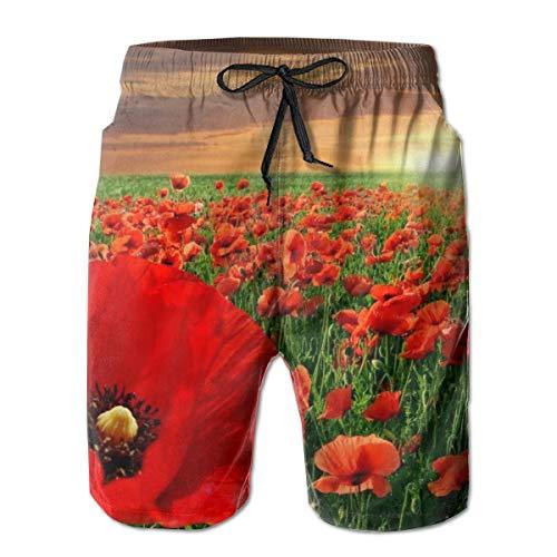 Sunset Poppy Field Bseautiful Poppy Flowers Field Men's Swimming Trunks Quick-Drying Boardshort Beach Shorts White