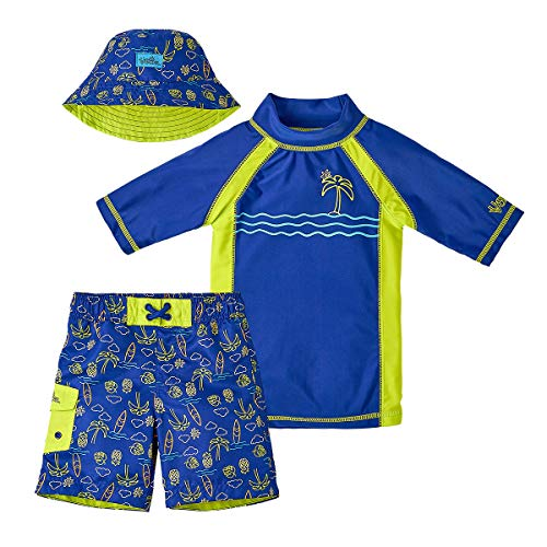 - UV SKINZ UPF 50+ Boys 3-Piece Swim Set (6, Blue Neon Lights)
