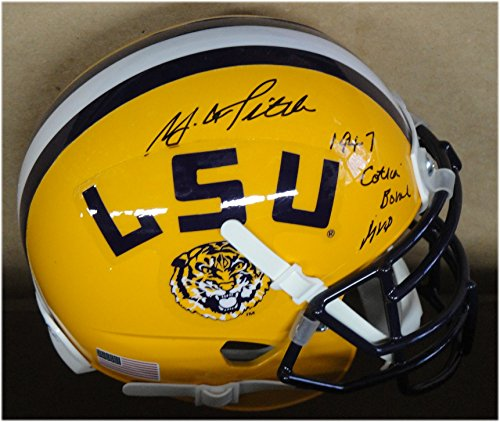 (YA Tittle Y.A. Hand Signed Autographed Mini Helmet LSU 1947 Cotton Bowl MVP)