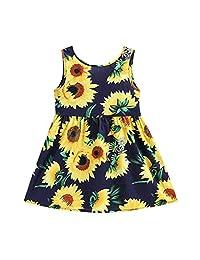 OCEAN-STORE Princess Dresses Baby Kids Girls Sleeveless Sunflowers Skirt Summer Clothes