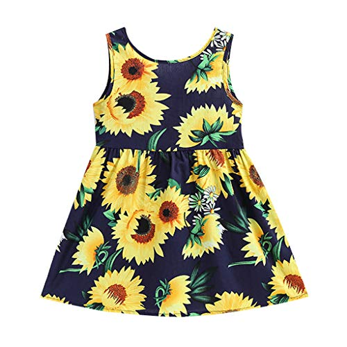 ♔Deadness Two to Six Years Old Princess Dresses Baby Girls Fashion Kids Performance Costume Sleeveless Sunflowers Print Skirt ()