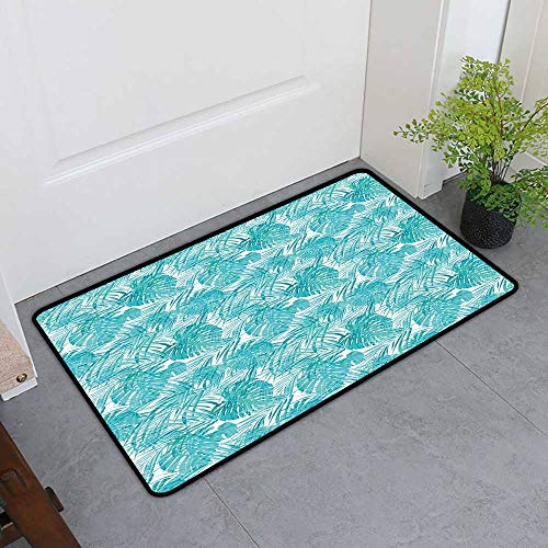 - TableCovers&Home Absorbs Mud Doormat, Light Blue Decorative Rugs for Kitchen, Neo Camouflage Tropical Summer Pattern Palm Tree Leaves Hawaiian (Light Blue Turquoise White, H32 x W48)