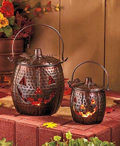 Set of 2 Metal Lighted Jack O Lantern Pumpkins Autumn Fall Harvest Halloween (Halloween Pumpkin Lanterns)