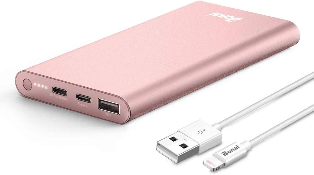 BONAI Portable Charger, (Aluminum)(Powerful) 12000mAh Power Bank, USB C High-Speed 3.0A Input/Output External Battery Pack Compatible with iPhone iPad Samsung Android-Blush Gold