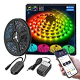 MINGER Dreamcolor 5M/16.4 Ft RGB LED Strip Lights, APP Control MusicPro Waterproof Flexible Tape Lighting Kit with Power Supply, DIY for Color-Changing and Play Modes