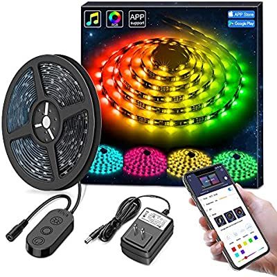 another chance 84971 bfa03 MINGER DreamColor LED Strip Lights Built-in IC, 16.4ft/5m LED Lights Sync  to Music, Waterproof RGB Rope Light APP, 150 LEDs SMD 5050 Flexible Strip  ...