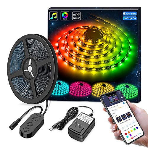 - MINGER DreamColor LED Strip Lights, Smart Music Sync Light Strip Phone App Controlled Waterproof for Party, Room, Bedroom, TV, Gaming with Brighter 5050 LEDs and Strong Adhesive Tape (16.4Ft)