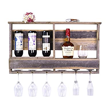 DAKODA LOVE - The Barnwood Bar w/ Inverted Wine Rack, Long Stem Glass Holder & Shelf, Rustic USA Handmade Reclaimed Wood