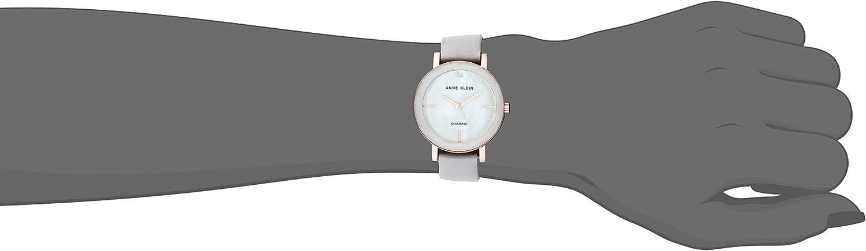 Anne Klein Women's Genuine Diamond Dial Leather Strap Watch Light Grey/Rose Gold