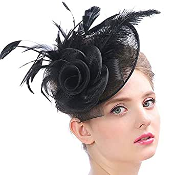 AS ROSE RICH Flower Derby Hats Fascinator Sinamay Hat Cocktail Party Headwear Girls and Women for MelbourneCup Black