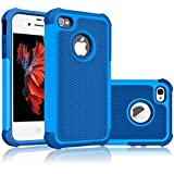 iPhone 5S Case, iPhone SE Case, Tekcoo(TM) [Tmajor Series] [Navy Blue] iPhone 5 5S SE 5SE Case Shock Absorbing Hybrid Defender Rugged Cover Skin Shell Hard Plastic Outer & Rubber Silicone Inner