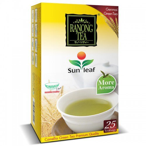 Ranongtea Sun leaf Camellia Green Tea Genmai Yellow Color 25 Teabags