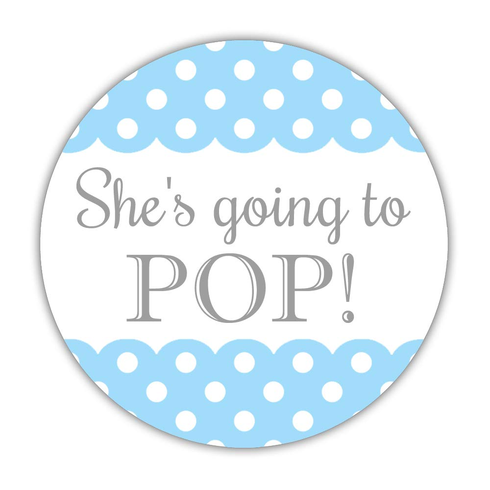 40 Ready to pop Stickers Blue, 2 inches – Going to pop Labels – Baby Shower Popcorn Favors Sky Blue