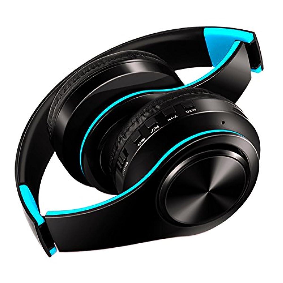 [해외] BLUETOOTH헤드폰 wireless 헤드폰 고음질 중저음 접이식 케이블착탈식마이크 부착 (청+검정)