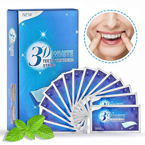 Herwiss Teeth Whitening Strips, 3D White Whitestrips with Mint Flavor for Gum Health and Refresh Breath, Dental Whitener Kit Elastic Gels for Teeth Stain Removal - 14 Treatments for Teeth Care