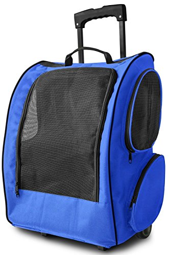 OxGord Rolling Backpack Travel Pet Carrier for Cats Dogs and Rabbits, Blue by OxGord