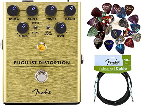 Fender Pugilist Distortion Pedal Bundle with Fender Instrument Cable and Pick ()