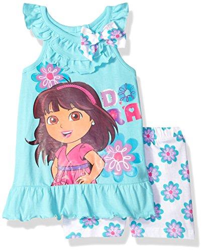 Nickelodeon Little Girls' Dora The Explorer 2 Piece Short Set, Blue, (Dora Short)