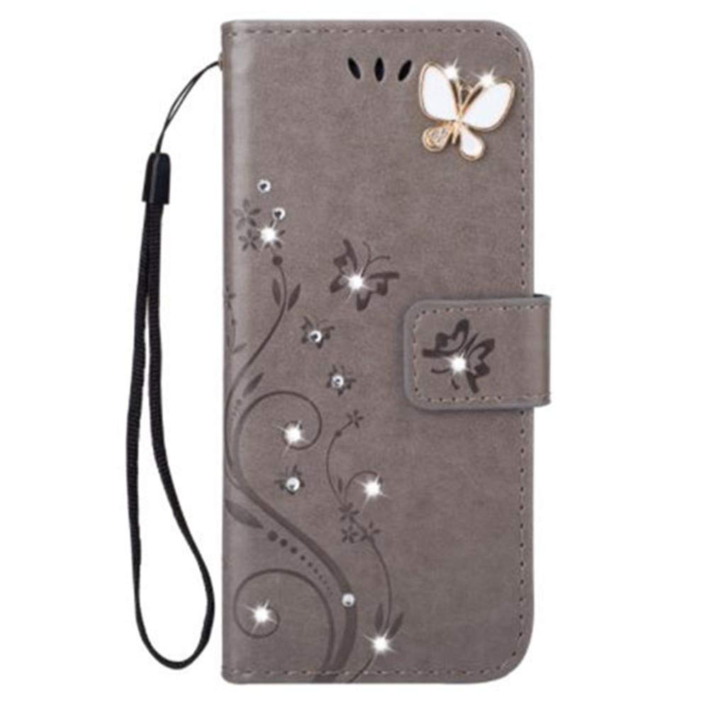 iPhone 11 Pro Max 6.5 Inch Wallet Case,Aulzaju iPhone 11 Pro Max Bling Handmade PU Leather Credit Card Cover iPhone 11 Pro Max Luxury Stylish Kickstand Case with Removable Strap for Girls Women Gray