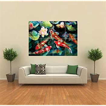 Portfolio canvas decor large printed canvas for Koi carp wall art