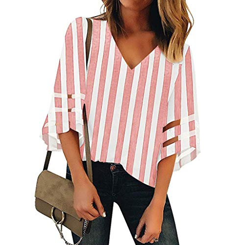 Tops 3/4 Bell Sleeve V Neck Striped Shirts Mesh Panel Blouses Casual Loose T-Shirts Pullover