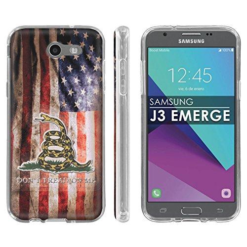Samsung Galaxy Emerge [2017] J327 J317 Mission Eclipse | Luna Pro Silicone Rubber Gel Phone Cover [Case86] [Clear] Gel Gummy Phone Case - [Flag Distress] for Galaxy SGH-I317 [5