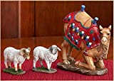 Three Kings Gifts Kneeling Camel and Two Awassi Sheep - For 7 Inch Real Life Nativity