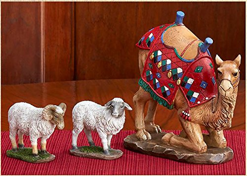 Three Kings Gifts Kneeling Camel and Two Awassi Sheep - For 7 Inch Real Life - Figurine Nativity Sheep Christmas