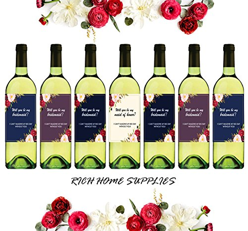 Wine Bottle Sticker Labels for Bridesmaid Wedding Gift Bridal Party - I Can't Say I Do Without You - Set of 7