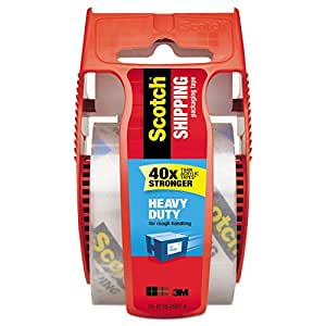 """Scotch Heavy Duty Shipping Packaging Clear Tape, 1.5"""" Core, 1.88"""" x 22.2 Yard, Red Dispenser (142)"""