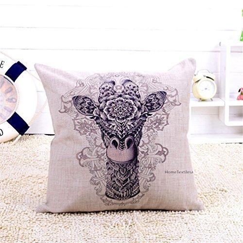 HomeTextilesArt Cartoon Animal Style Abstract Giraffe Throw Pillow Case Decor Cushion Covers Square 18*18 Inch Beige Cotton Blend Linen