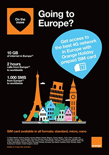 Orange Holiday Europe – Prepaid SIM card – 10GB Internet Data in 4G/LTE (data tethering allowed) + 120 mn + 1000 texts in 30 countries in (Orange Mobile)