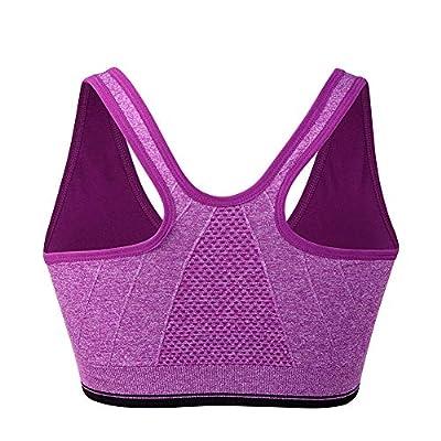 Women's Zip Front Sports Bra Wireless Post-Surgery Bra Active Yoga Sports Bras at Women's Clothing store
