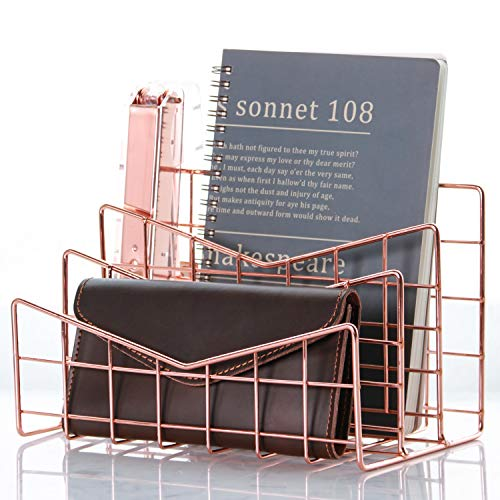 Simmer Stone 3 Slot Letter Holder, Multifunctional Desk Wire Letter Sorter, Decorative File Storage Organizer for Postcard, Mail, Brochure and Notebook, Copper (File Decorative Holder)