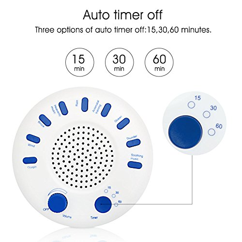 White Noise Machine with Auto off Timer, Adjustable Volume, Battery Operated Portable Sound Machine for Travel,Office,Baby,Sleep by AZGGN (Image #2)
