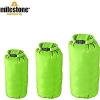 Milestone Camping 20610 Waterproof, Lightweight Dry Sacks (Pack of 3) for the Beach, Boating, Fishing, Kayaking, Swimming, Rafting Green
