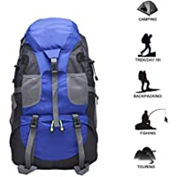 Hiking Backpack Trekking Bag 50L Large Capacity Waterproof Packable Foldable Durable Daypack for Unisex Travel Outdoor Mountaineering Camping Picnics Walking (Blue)