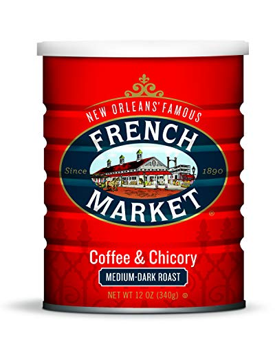 French Market Coffee, Coffee & Chicory, Medium-Dark Roast Ground Coffee, 12 Ounce Metal Can (Pack of 6) from French Market Coffee