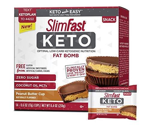 Slimfast Keto Peanut Butter Cup Fat Bomb 0.59 oz 14 per Box (4 Boxes)
